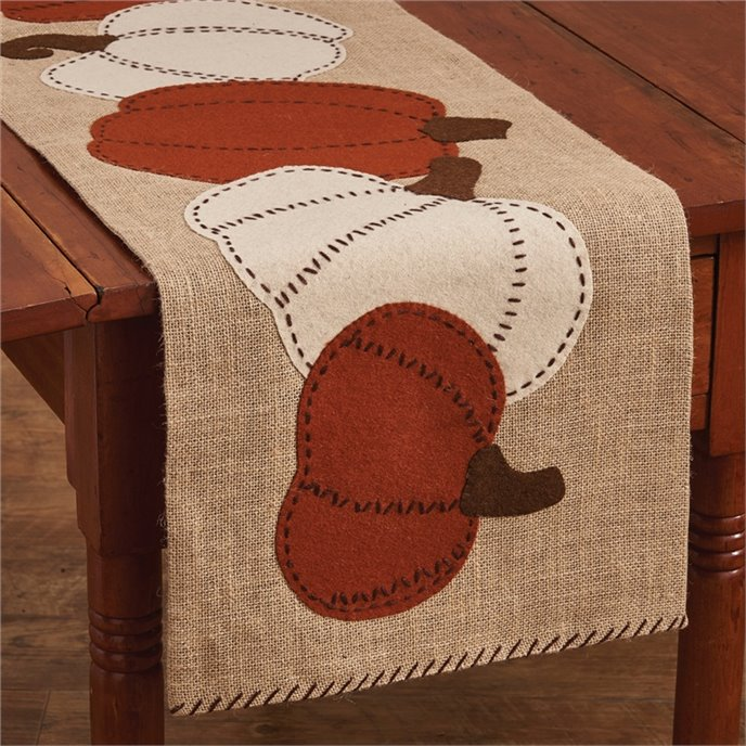 Pumpkin Patch Burlap & Felt Table Runner 42 inch Thumbnail