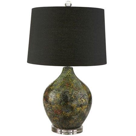 Black Mosiac Lamp with Crystal Base and Finial Thumbnail