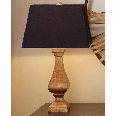 Antique Gold Wood Lamp with Shade Thumbnail