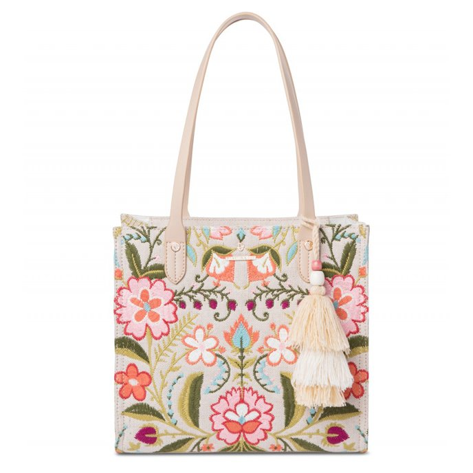 Spartina 449 Cordelia Blossom Embroidered Box Tote Thumbnail