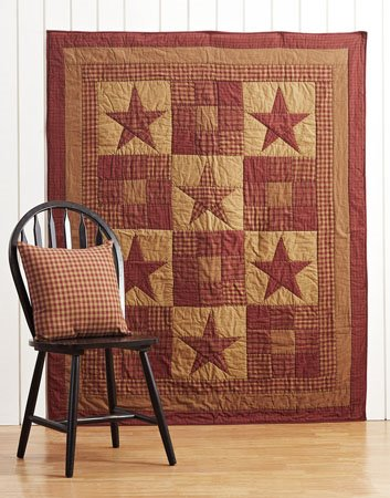 Ninepatch Star Quilted Throw Thumbnail