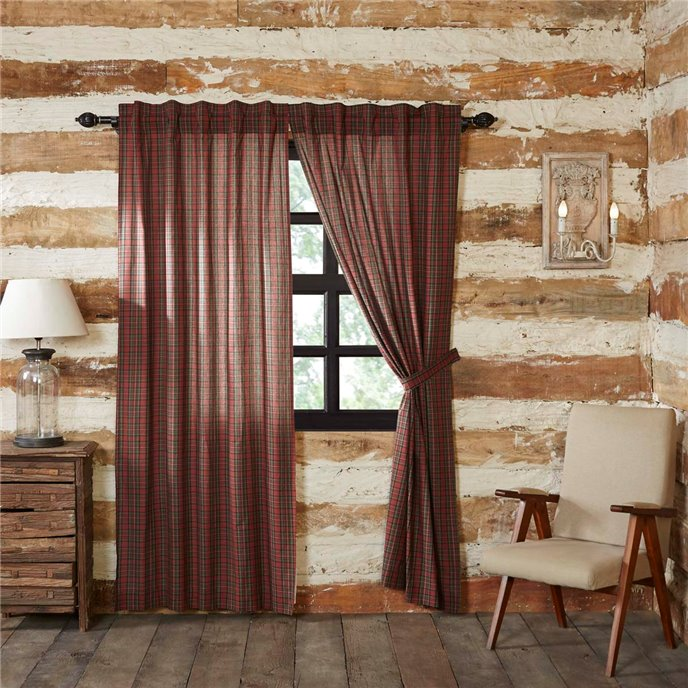 Tartan Red Plaid Panel set of 2 (84L x 40W) Thumbnail