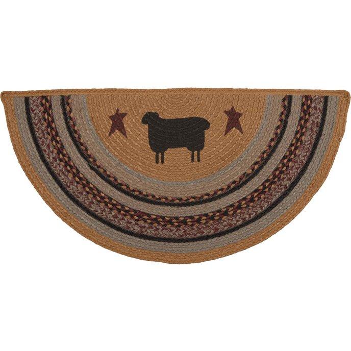 Heritage Farms Sheep Jute Rug Half Circle (16.5x33) Thumbnail