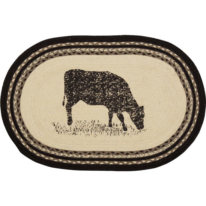 Sawyer Mill Cow Jute Rug Oval (20x30) Thumbnail