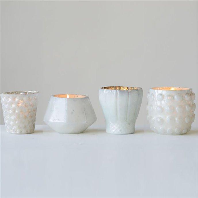 White Mercury Glass Votive Holders Set of 4 Thumbnail